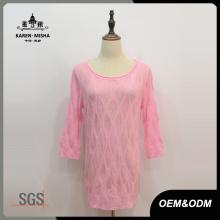 Frauen benutzerdefinierte halbe Hülse rosa Pullover Kleid