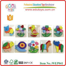 Hot Sale ECO-Friendly Non-toxic Cartoon Animal 3D Wooden Puzzle, Safety Intelligence 3D Puzzle