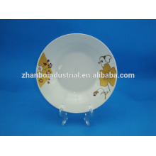 White porcelain plate with decal