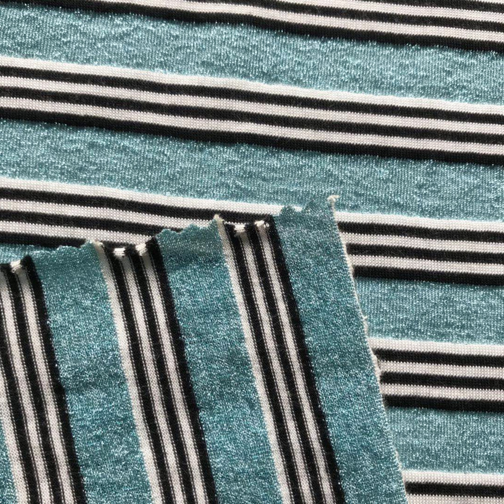 Blue lurex metallic yarn  stripe knitting fabric
