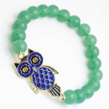 Green Aventurine Gemstone Bracelet with alloy Owl Piece