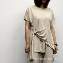 Women's clothing short sleeve blouse loose plus size wide-leg pants two sets