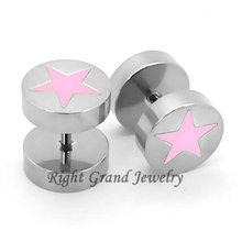 Inox 316L acier inoxydable chirurgical rose Star Plug faux Tunnels