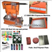 Impressora de almofada de copo de tinta de selo manual e mini máquina de exposição