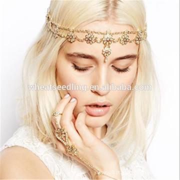 Estilo quente tmall borla pérola contas hairband flor headband