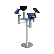 Computer Retail Shop Custom Metal Freestanding Safety Cheap 4 Sets Tablets Pc Display Stand