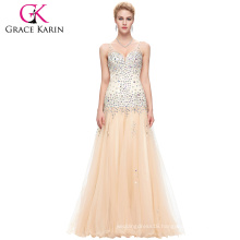 Grace Karin Apricot Beaded Sleeveless V-Neck Tulle Netting Ball Gown Evening Prom Party Dress 8 Size US 2~16 GK000104-1