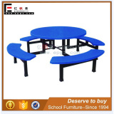 8-Seater Blue color restaurant table and bench set for school canteen hall
