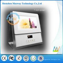 pantalla de contador de acrílico con pantalla lcd de 7 pulgadas y escáner de código de barras para la promoción