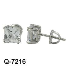 925 Art- und Weiserosa-silberne Ohrringe mit großem Zircon (Q-7216)