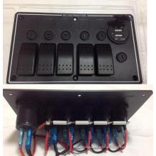 5 Puertos USB marinos dobles del puerto del coche de aluminio de la cuadrilla LED y el panel del interruptor de eje de balancín