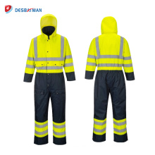High Visibility Rain Safety Coverall Lined Work Class 3 Waterproof Reflective Suit with 5 Pockets