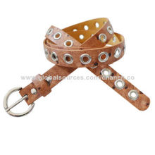 Fashion Brown Imitation Ostrich Leather PU Belt, Decorated with Silver Eyelets in MiddleNew
