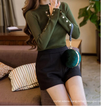 PK18CH001 women's round neck skinny top sweater stripe patten