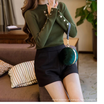 PK18CH001 mulheres rodada pescoço skinny top camisola patten tarja