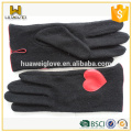 Cute Unlined Girls Black Wool Gloves with Red Heart-shaped Leather