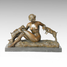 Classical Figure Statue Sheep Lady Bronze Sculpture TPE-217