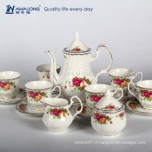 Rose Pattern Plain Design Ensemble de thé en céramique de style royal Ensemble de thé, boîte cadeau Ensemble de tasses à café