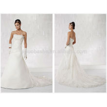 Top Rated 2014 Tafetá Lace A-Line Vestido de casamento Strapless Criss Cross Plissado Corpete Beaded Mergulhado Longo vestido de noiva NB0888