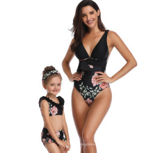 Mother Daughter Matching Swimsuits Mommy and Me V Neck Flower Print One Piece Adult And Two Pieces Child Swimwear Bathing Suit
