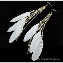 Été nouvelle arrivée en forme de plume en forme de boucles d'oreilles longues pendaison