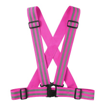 Pink High Visibility Reflective Elastic Adjustable Safety Vest Running Gear Customized Logo for Women Girls 5CM Width