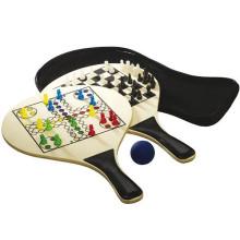Raquete de praia de madeira 3 em 1 jogo de tabuleiro ludo
