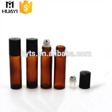 amber glass perfume deodorant 10 ml roll on bottle with black plastic cap