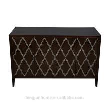 CANOSA 2016 Escudo de água doce chinês esculpido embutido madeira de nogueira preta Armário de armazenamento mobiliário de sala de estar