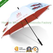 Marke gedruckten Fiberglas Golf Regenschirme mit Double-Layer Fabric (GOL-0027FADL)