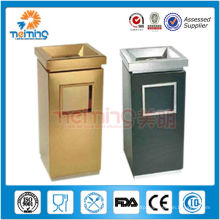 Square Stainless Steel Standing Trash Can with Ashtray