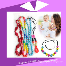 Long Necklace with Silionce Bead Compy with FDA Standard Nsb-004