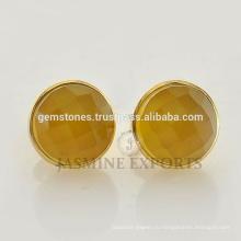 Ручной Работы Золото Vermeil Серебро 925 Халцедон Драгоценный Камень Серьги