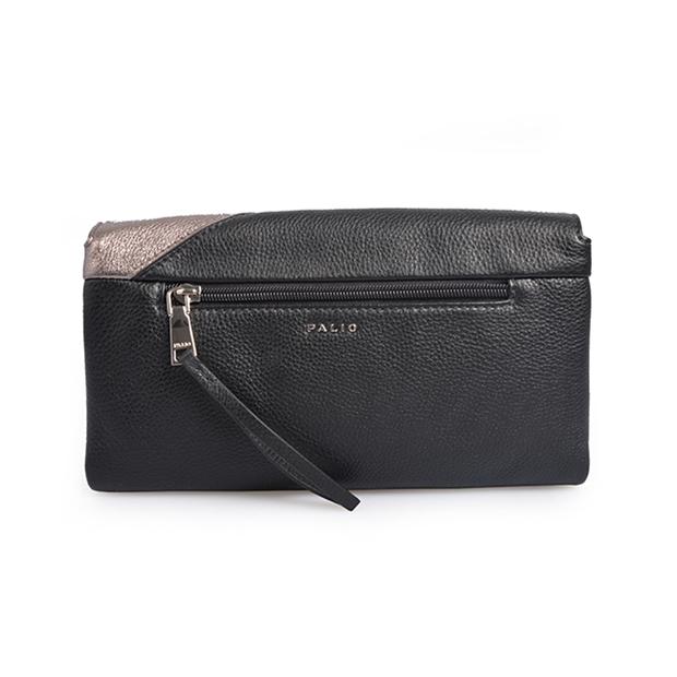 Zipper Long Wallet Leather for Men Patchwork Italian Grain Leather Ladies Purse Clutch