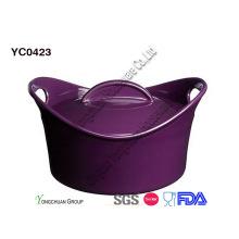 Рекламная фиолетовая выпечка запеканка с крышкой