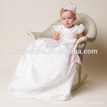 Nouveau-né baptême grandi vêtements soie satin avec rose pourpre blanc ceintures robe de baptême pour les filles en bas âge robes de concours