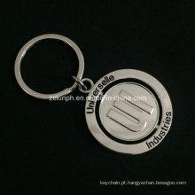 Personalizado niquelar chapeamento do zinco liga Rotatable chaveiro para fins promocionais