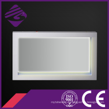 Espejo retroiluminado del cuarto de baño de la pantalla táctil LED del marco de madera con el reloj