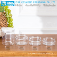TJ-AB Series 150g 240g 300g and 550g cost effective wide application cylinder round wide mouth high clear empty pet jars