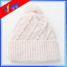 Fleece Inside Knit Hat Pom Pom Beanie Hat