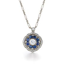 Projetos simples Blue Diamond 925 Silver Pendants Necklace Jewelry