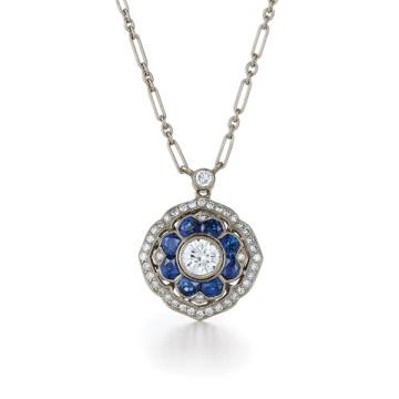 Designs simples Blue Diamond 925 Pendentifs en argent Collier Bijoux