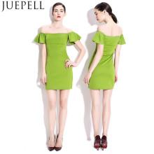 Las mujeres de buena calidad moda se visten hombro manga corta precio de fábrica Sexy una línea de falda dama vestidos de noche