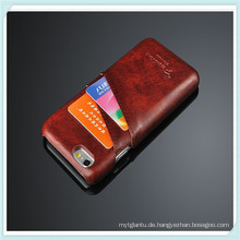 Crazy Horse Kartensteckplatz Pu-lederner Telefon-Kasten für iPhone 6s Plus