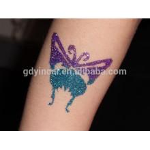 Tatuajes temporales de la etiqueta engomada del cuerpo del polvo del brillo del color