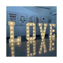 Wedding Retro Letter Light LED Alphabet Mr & Mrs Love Customizable Stainless Steel LED Event Decor Signs