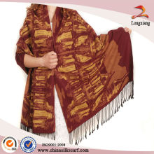 Qualidade de caxemira, pintura de seda escovada, longas camadas de pashmina