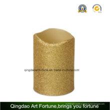 Золотой блеск волнистых светодиодная восковая свеча с таймером для украшения