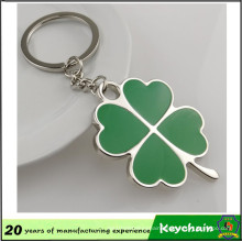 OEM Nickel Plating Soft Enamel Four Leaf Clover Metal Keyring