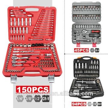 """150pc 1/4"""", 3/8"""", 1/2"""" набор гнезд ,многофункциональный торцевой гаечный ключ, высокое качество ручной комплект инструментов,бытовой инструмент набор"""
